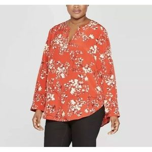 Ava & Viv 1X Red Floral Long Sleeve Blouse